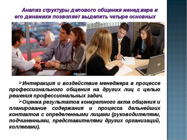 Анализ структуры делового общения менеджера и его динамики позволяет выделить...