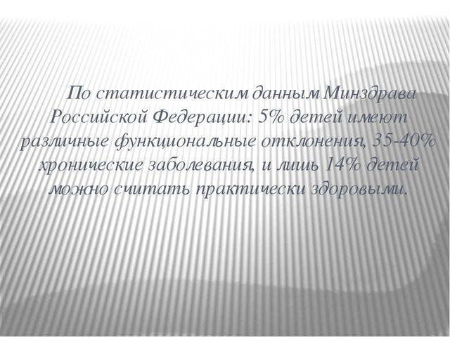 По статистическим данным Минздрава Российской Федерации: 5% детей имеют разл...