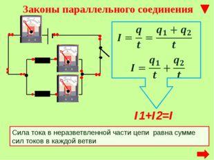 Сила тока в неразветвленной части цепи равна сумме сил токов в каждой ветви I