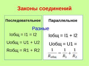Законы соединений Последовательное Iобщ = I1 = I2 Uобщ = U1 + U2 Rобщ = R1 +