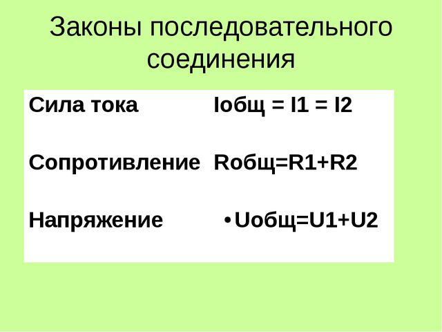 Законы последовательного соединения Сила тока Iобщ=I1= I2 Сопротивление Rобщ=...