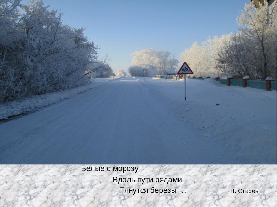 Белые с морозу Вдоль пути рядами Тянутся березы … Н. Огарев