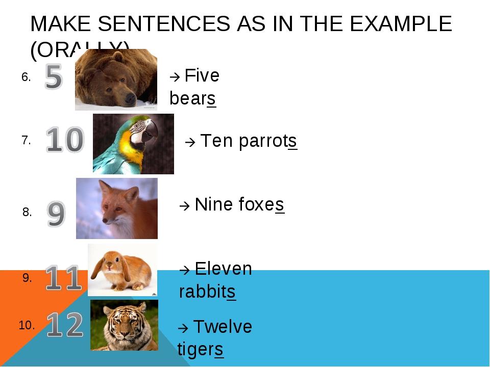 MAKE SENTENCES AS IN THE EXAMPLE (ORALLY) 6. 7. 8. 9. 10.  Five bears  Ten...