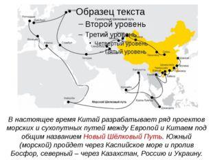 В настоящее время Китай разрабатывает ряд проектов морских и сухопутных путей
