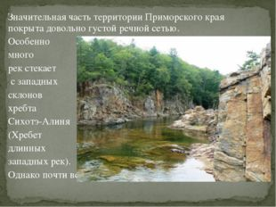 Значительная часть территории Приморского края покрыта довольно густой речной