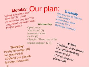 Our plan: Monday Making information stand about the UK (10-11) An interactive