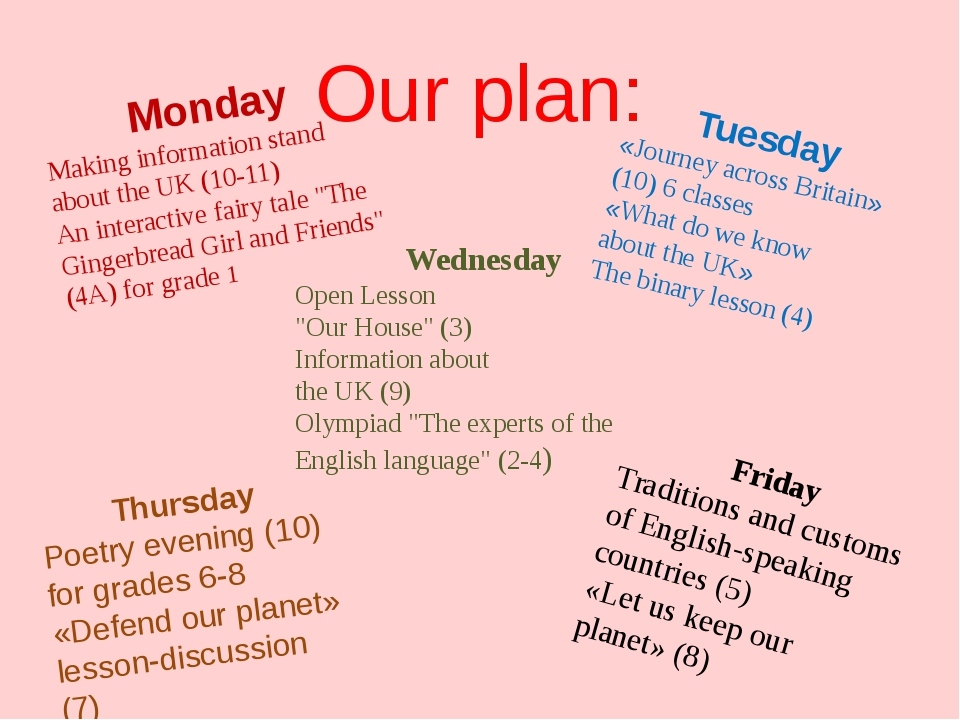 Our plan: Monday Making information stand about the UK (10-11) An interactive...