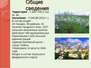 Общие сведения Территория – 1 млн. 435,2 тыс. кв. км. Население – 3 545,88 (2