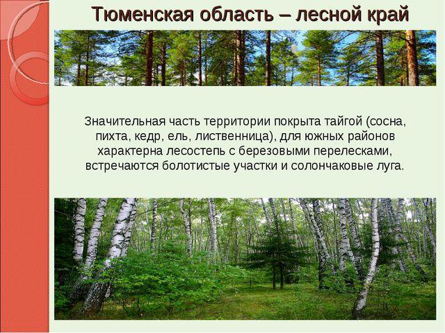 Тюменская область – лесной край Значительная часть территории покрыта тайгой...