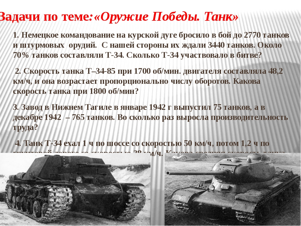 Задачи по теме:«Оружие Победы. Танк» 1. Немецкое командование на курской дуге...