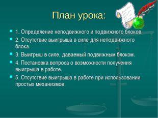 План урока: 1. Определение неподвижного и подвижного блоков. 2. Отсутствие вы