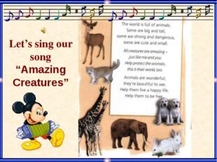 "Let's sing our song ""Amazing Creatures"" Category 1 - 20"