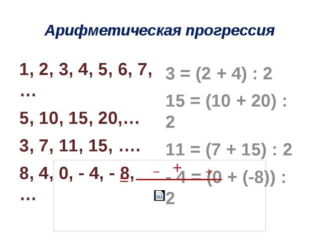 Арифметическая прогрессия 1, 2, 3, 4, 5, 6, 7,… 5, 10, 15, 20,… 3, 7, 11, 15,...