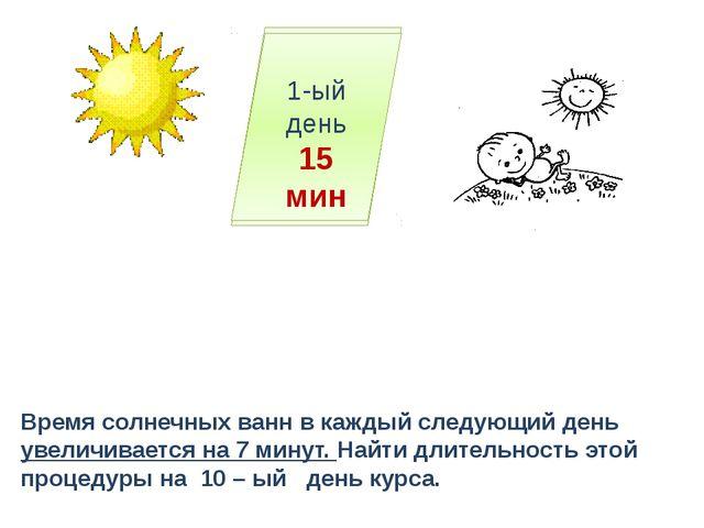 10-ый день ? 3-ий день … 2-ой день … 1-ый день 15 мин Время солнечных ванн в...
