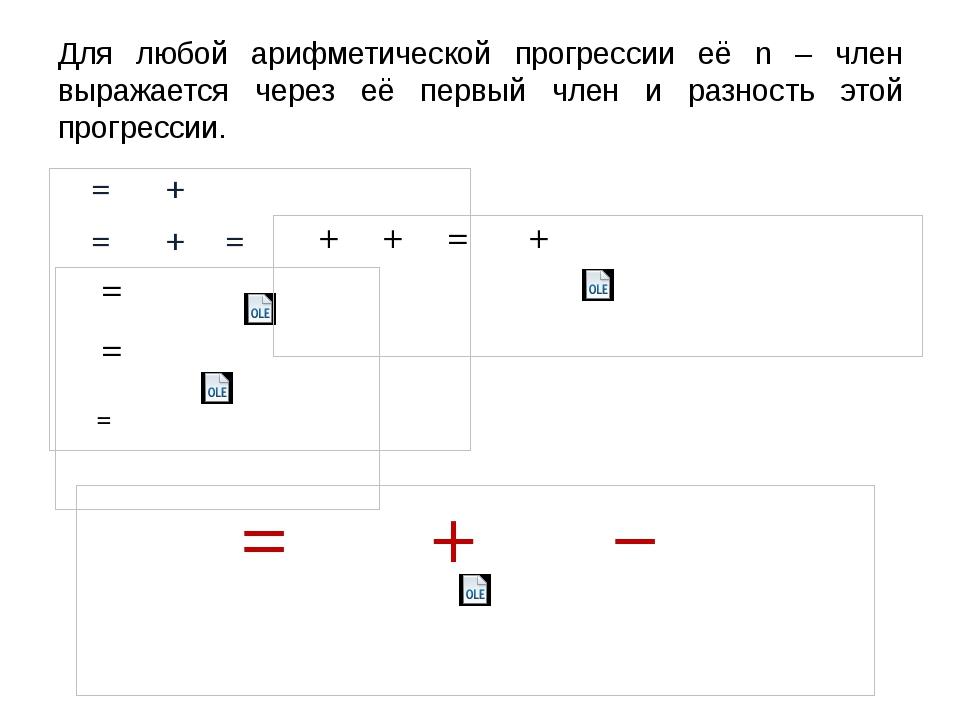 Для любой арифметической прогрессии её n – член выражается через её первый чл...