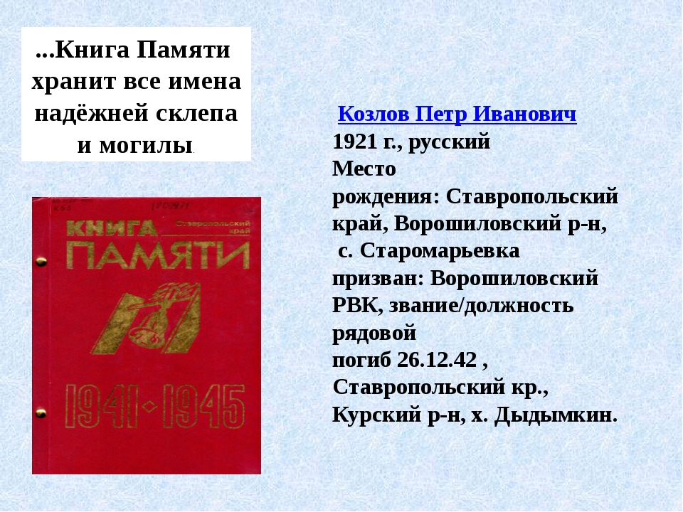 ...Книга Памяти хранит все имена надёжней склепа и могилы. Козлов Петр Иван...