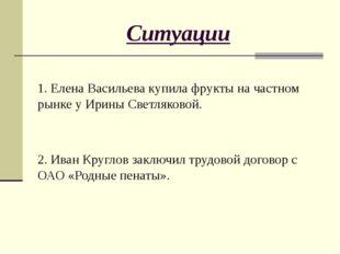 Ситуации 1. Елена Васильева купила фрукты на частном рынке у Ирины Светляково