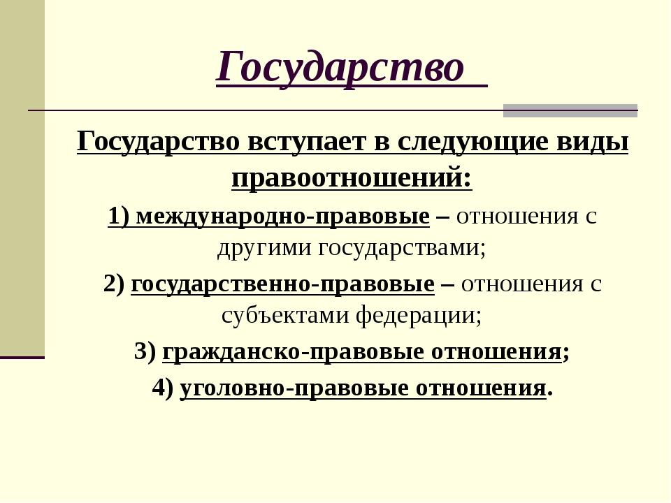 Государство Государство вступает в следующие виды правоотношений: 1) междунар...