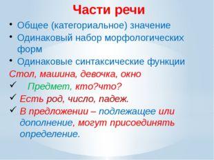Части речи Общее (категориальное) значение Одинаковый набор морфологических ф