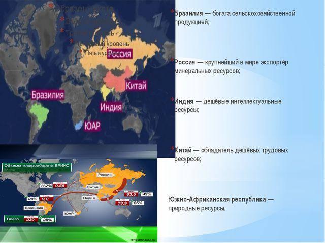 Бразилия— богата сельскохозяйственной продукцией; Россия— крупнейший в мире...