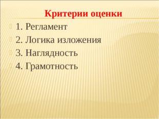Критерии оценки 1. Регламент 2. Логика изложения 3. Наглядность 4. Грамотность