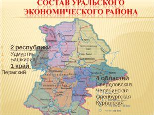2 республики Удмуртия Башкирия 1 край Пермский 4 областей Свердловская Челяби