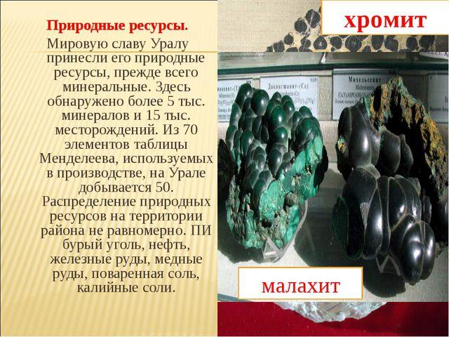 Природные ресурсы. Мировую славу Уралу принесли его природные ресурсы, прежде...