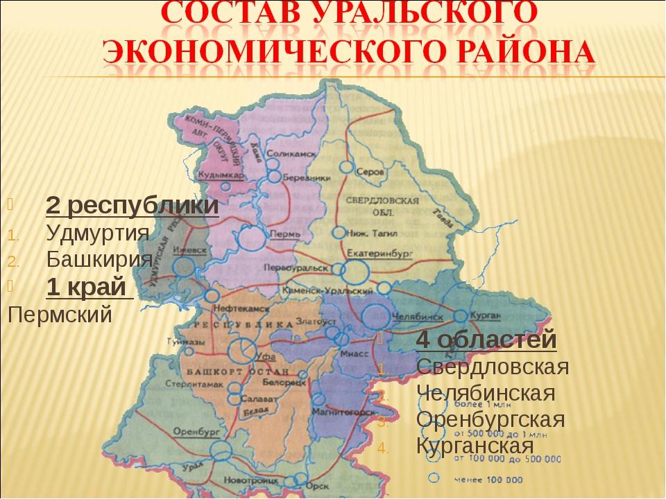 2 республики Удмуртия Башкирия 1 край Пермский 4 областей Свердловская Челяби...