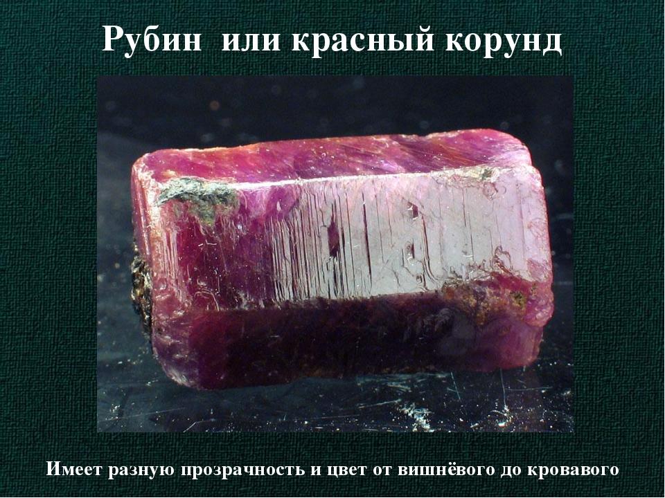 Рубин или красный корунд Имеет разную прозрачность и цвет от вишнёвого до кро...
