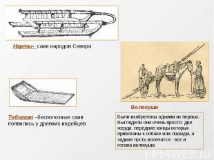 Нарты- сани народов СевераТобогган –бесполозные сани появились у древних индейце