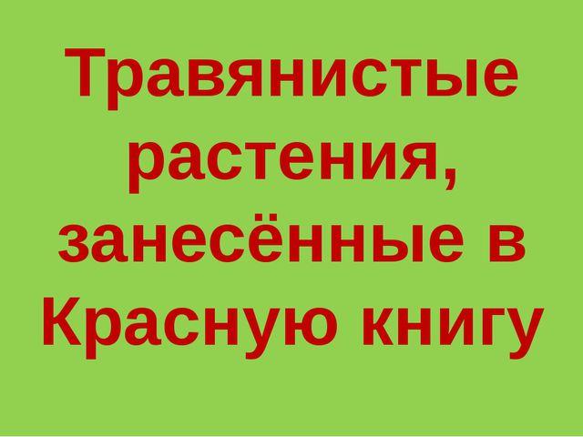 Травянистые растения, занесённые в Красную книгу