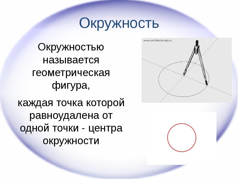 Окружность Окружностью называется геометрическая фигура, каждая точка которой...