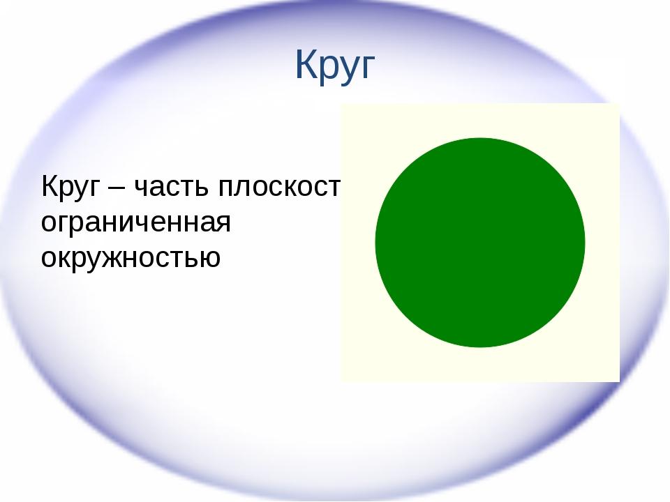 Круг Круг – часть плоскости, ограниченная окружностью