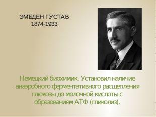ЭМБДЕН ГУСТАВ 1874-1933 Немецкий биохимик. Установил наличие анаэробного ферм