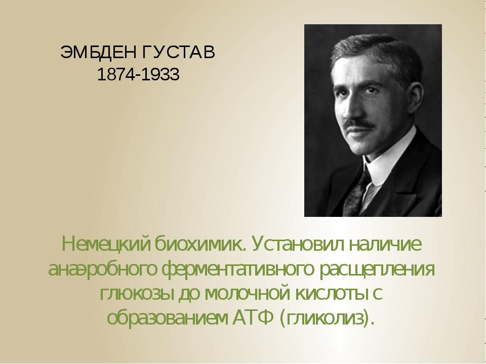 ЭМБДЕН ГУСТАВ 1874-1933 Немецкий биохимик. Установил наличие анаэробного ферм...
