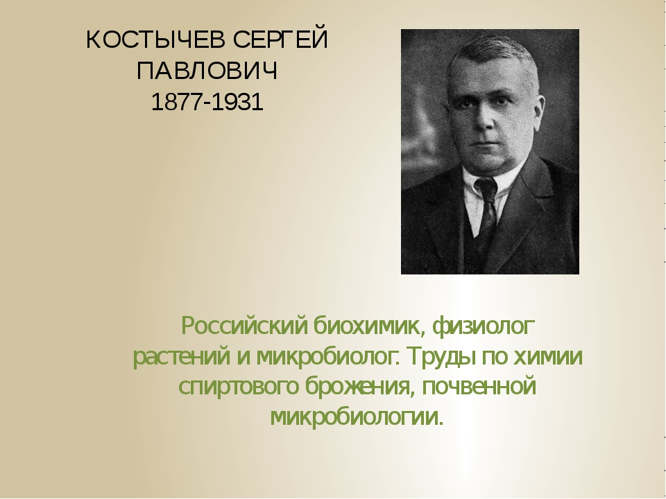 КОСТЫЧЕВ СЕРГЕЙ ПАВЛОВИЧ 1877-1931 Российский биохимик, физиолог растений и м...