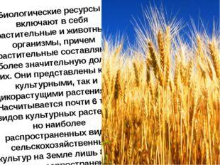 Биологические ресурсы - включают в себя растительные и животные организмы, пр
