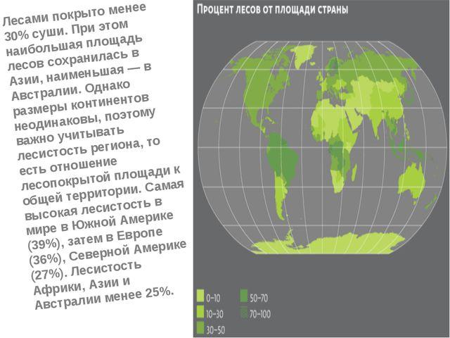 Лесами покрыто менее 30% суши. При этом наибольшая площадь лесов сохранилась...