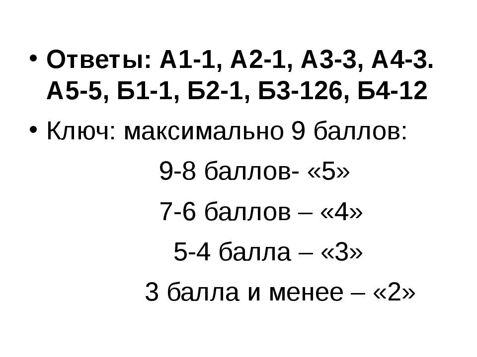 Ответы: А1-1, А2-1, А3-3, А4-3. А5-5, Б1-1, Б2-1, Б3-126, Б4-12 Ключ: максим...