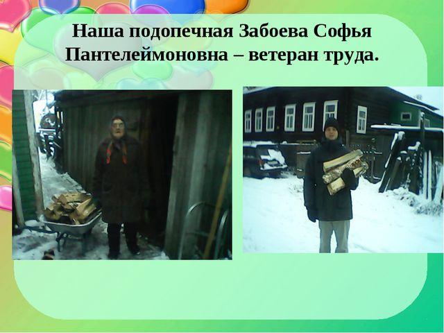 Наша подопечная Забоева Софья Пантелеймоновна – ветеран труда.