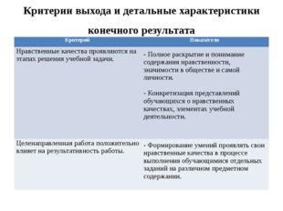 Критерии выхода и детальные характеристики конечного результата Критерий Пока