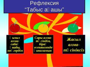 """Рефлексия """"Табыс ағашы"""" Қызыл алма- сабақ ұнады, меңгердім Сары алма- түсінді"""