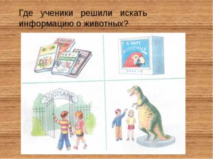 Где ученики решили искать информацию о животных?