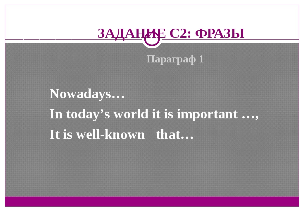 ЗАДАНИЕ С2: ФРАЗЫ Параграф 1 Nowadays… In today's world it is important …, It...