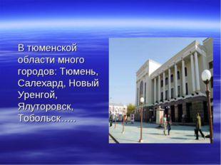 В тюменской области много городов: Тюмень, Салехард, Новый Уренгой, Ялуторов