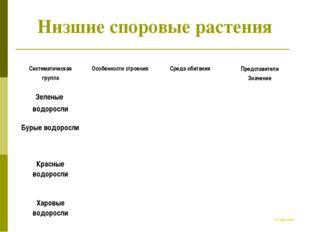 Низшие споровые растения К содержанию Систематическая группа Особенности стр