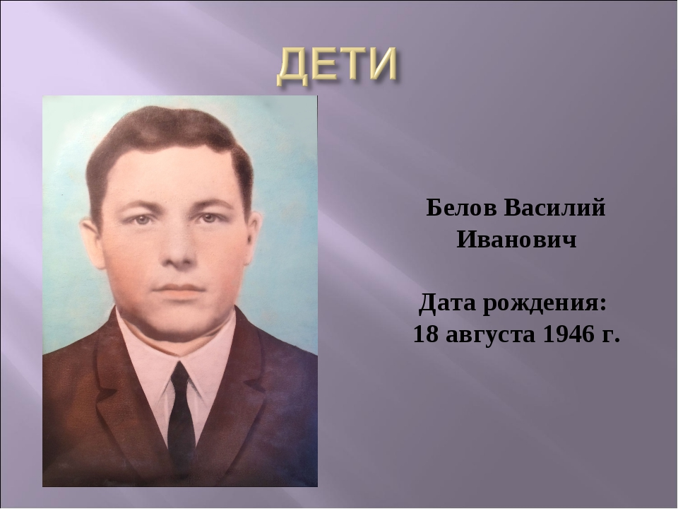 Белов Василий Иванович Дата рождения: 18 августа 1946 г.