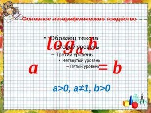 Основное логарифмическое тождество a = b a>0, a≠1, b>0