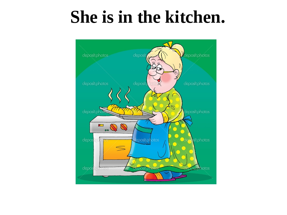 She is in the kitchen.