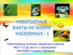 Подготовила учитель начальных классов МОУ «СОШ № 41 г. Белгорода» НЕЧАЕВА Окс